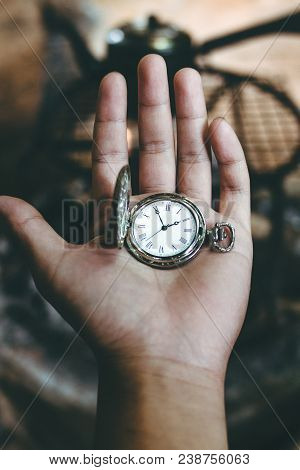 Time Old Silver Pocket Watch Clock In Hand