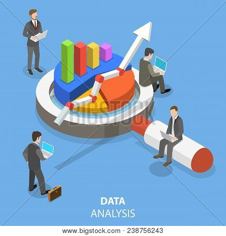 Data Analysis Flat Isometric Vector Concept. A Business Team Is Investigating Some Information With