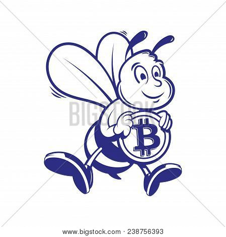 Cryptocurrency Concept Graphic Cartoon Character Fun Happy Cute Smile Bee Mining Miners Working Fly