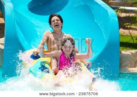 Kids on water slide