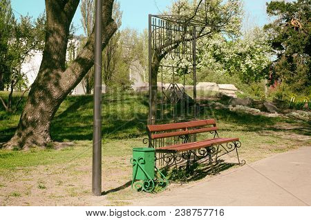 A Bench In The Park. Old Photo Bench Benches In The Park