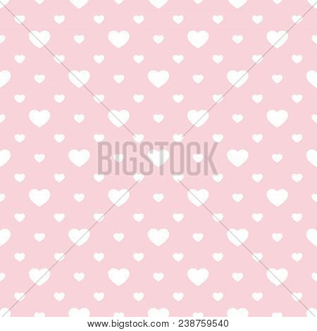 Vector Seamless Pattern With Small Hearts. Valentines Day Background. Abstract Geometric Pink And Wh