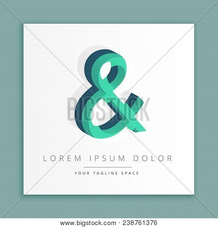 3d Abstract Style Logo With Symbol Of Ampersand