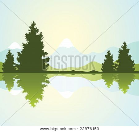 Silhouettes Of Fur-trees And Mountains