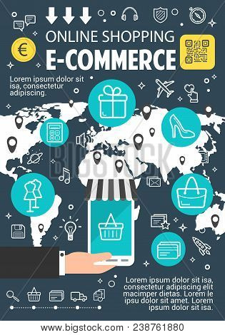 Online Shopping Banner For E-commerce And Internet Business Concept. Online Shopping With Web Servic