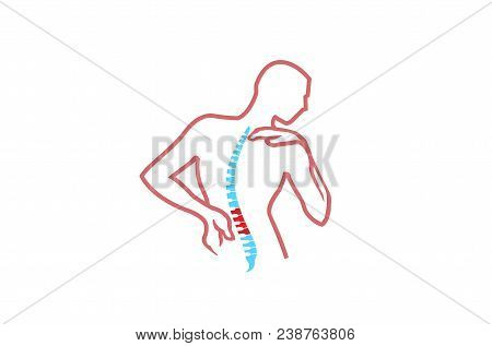 Chiropractic Body Pain Exercice Vector spine diagnostics symbol design Logo Illustration poster