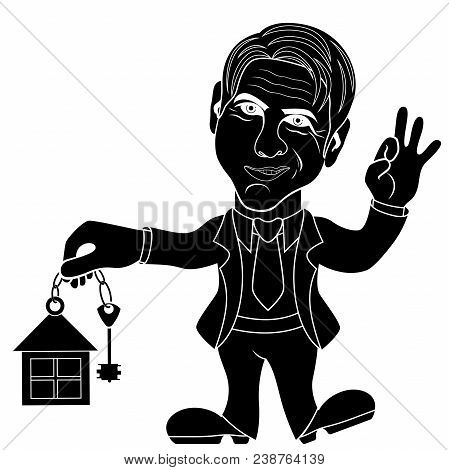 Silhouette Of Happy Mature Men That Holds A Key For House And Gesticulate Okay, Conceptual Cartoon S