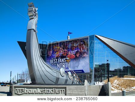 MINNESOTA-MINNEAPOLIS APRIL6, 0218:  Long ship boat in front of US Bank Stadium, the home of the Minnesota Vikings