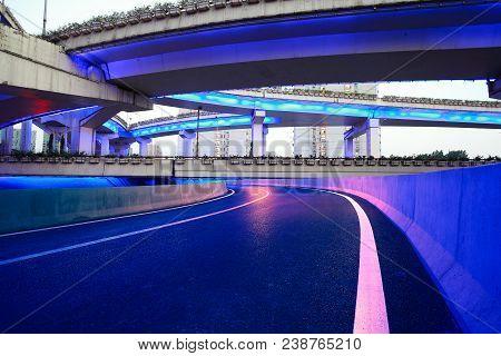 City Road Overpass Viaduct Bridge Of Night Scene