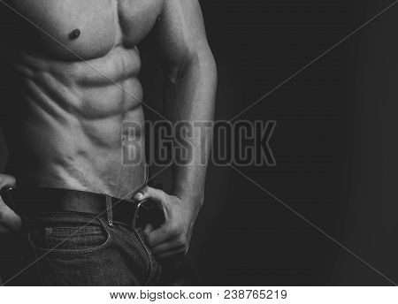 Coach Sportsman With Bare Chest. Man With Muscular Body And Torso. Sport And Workout. Athletic Bodyb