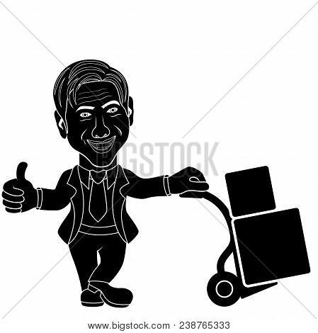 Smiling Man With Tie Holds A Cart With A Load, Advert Conception Cartoon Stencil Vector Illustration