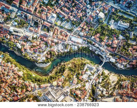 Mostar Drone Aerial, Bosnia And Herzegovina