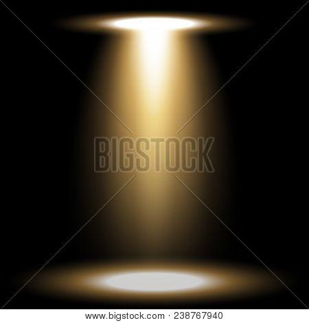 Spotlight Glow Effect, Light Beam On Black Background, Show Spotlight Vector, Light Effect, Golden C