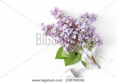 Styled Stock Photo. Spring Wedding, Birthday Scene, Floral Composition. Bouquet Made Of Beautiful Bl