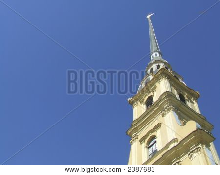 Golden Steeple At St Peter And Pauls Fortress In St Petersburg, Russia