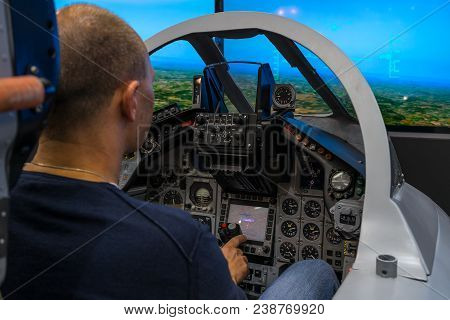 Berlin, Germany - April 25, 2018: Cockpit Of Multirole Fighter Panavia Tornado. Training Simulator F