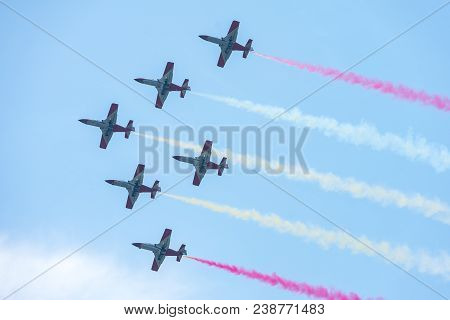 Berlin, Germany - April 28, 2018: Demonstration Flight By The Aerobatic Team Patrulla Aguila (eagle