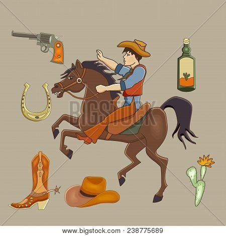 Cowboy Cartoon Set. Mustang, Cowboy, Cactus, Tequila, Long Gun, Horseshoe.