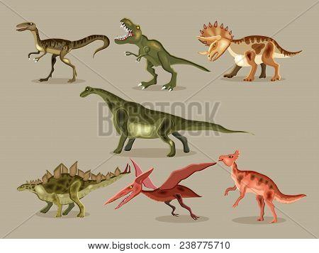 Vector Cartoon  Set Of A Dinosaurs. T-rex,  Tyrannosaur, Velociraptor, Triceratops, Brontosaurus, Pa