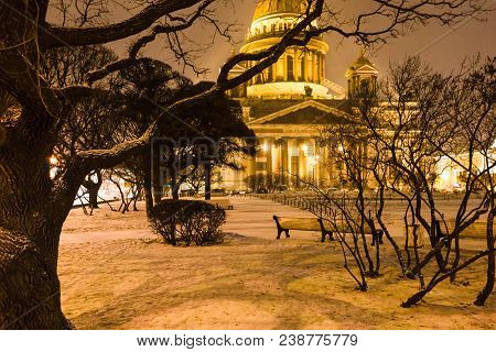 Snow-covered Garden Near Saint Isaac's Cathedral