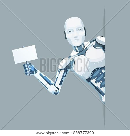 Poster Hand Android Robot Look Out Corner Online Help Technology Science Fiction Future Sale 3d Desi