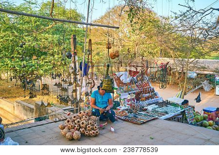 Bagan, Myanmar - February 24, 2018: Small Souvenir Market At Shwegu Gyi Phaya Pagoda Offers Traditio