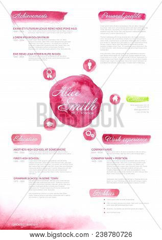 Vector Original Cv Resume Template For Women - Creative Watercolor Pink Version