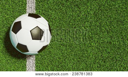 Soccer on line from football playing field (3D Rendering)