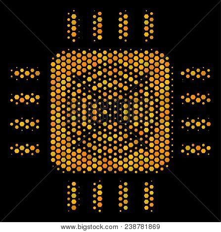 Halftone Hexagon Asic Processor Icon. Bright Gold Pictogram With Honey Comb Geometric Structure On A