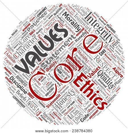 Conceptual core values integrity ethics round circle red concept word cloud isolated background. Collage of honesty quality trust, statement, character, perseverance, respect and trustworthy