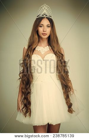 Beauty Salon And Wedding Fashion. Haircare And Prom Queen. Hairdresser And Cosmetics. Woman With Lon