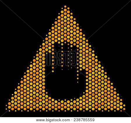 Halftone Hexagonal Caution Icon. Bright Yellow Pictogram With Honey Comb Geometric Pattern On A Blac
