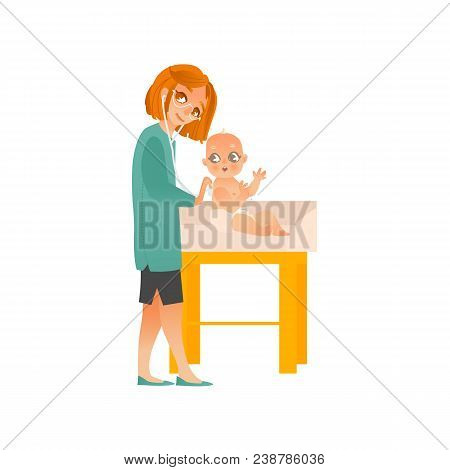 Female Pediatrician Examines Baby On Scheduled Checkup Isolated On White Background. Doctor In Unifo