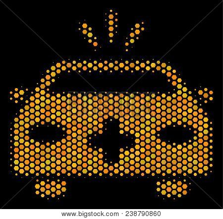 Halftone Hexagonal Emergency Car Icon. Bright Yellow Pictogram With Honey Comb Geometric Structure O