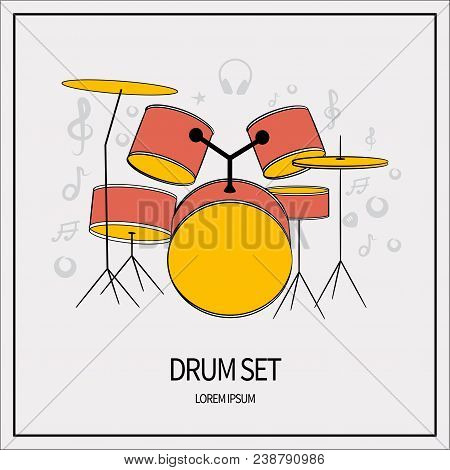 Drum Unit, Set. Drums, Plates. Icon Isolated On A Light Background. With Elements Of A Treble Clef,