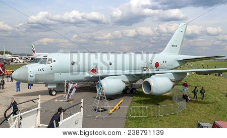 Berlin, Germany - Apr 27, 2018: New Japanese Kawasaki P-1 Maritime Patrol Aircraft On Display At The