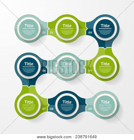 Vector Infographic Template For Diagram, Graph, Presentation And Chart. Business Concept With 9 Opti