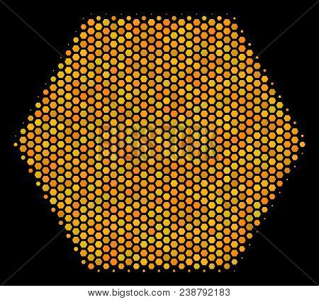 Halftone Hexagon Filled Hexagon Icon. Bright Yellow Pictogram With Honey Comb Geometric Pattern On A