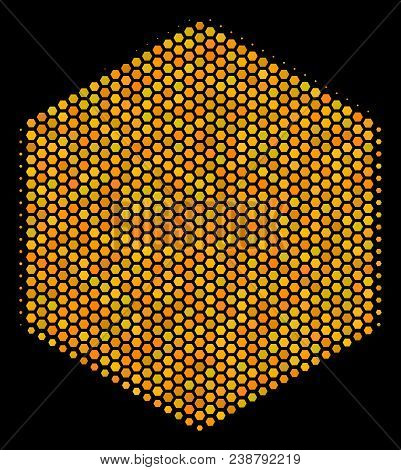 Halftone Hexagon Filled Hexagon Icon. Bright Gold Pictogram With Honey Comb Geometric Structure On A