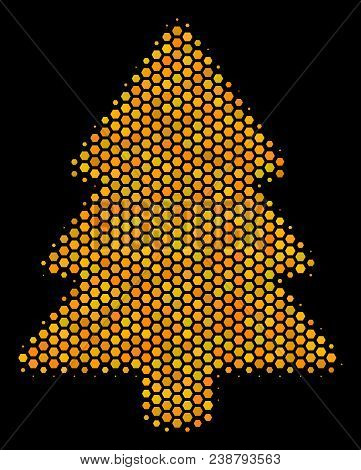Halftone Hexagon Fir-tree Icon. Bright Golden Pictogram With Honey Comb Geometric Pattern On A Black