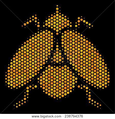 Halftone Hexagonal Fly Insect Icon. Bright Yellow Pictogram With Honey Comb Geometric Structure On A
