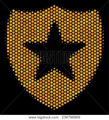 Halftone Hexagon Guard Icon. Bright Golden Pictogram With Honey Comb Geometric Pattern On A Black Ba