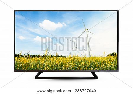 Television Monitor Water Reflection Isolated On White Background.