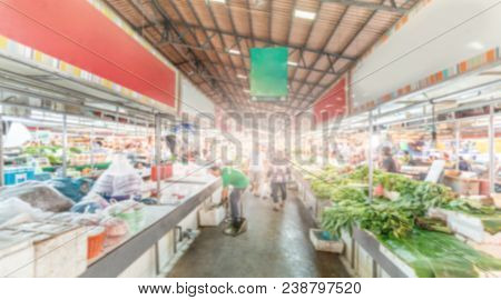 Blurred People Or Shopper And Shopkeeper In Thailand Fresh Food Market Background
