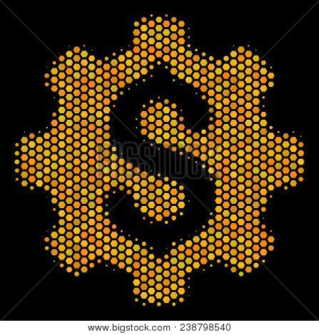Halftone Hexagon Industrial Capital Icon. Bright Golden Pictogram With Honeycomb Geometric Structure