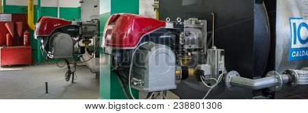 Bendery, Moldova - April 27: Heating Boilers For Heating Water Ici Caldaie And Gas Burners Riello At