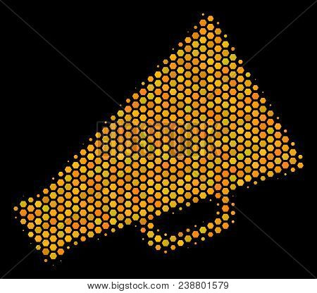 Halftone Hexagonal Megaphone Icon. Bright Yellow Pictogram With Honeycomb Geometric Pattern On A Bla