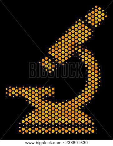 Halftone Hexagonal Microscope Icon. Bright Yellow Pictogram With Honey Comb Geometric Pattern On A B