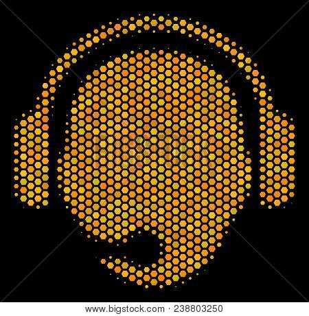 Halftone Hexagonal Operator Head Icon. Bright Yellow Pictogram With Honeycomb Geometric Pattern On A