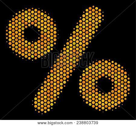 Halftone Hexagon Percent Icon. Bright Gold Pictogram With Honey Comb Geometric Structure On A Black